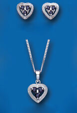 Sapphire and Diamond Heart Set Pendant and Earrings Solid Sterling Silver