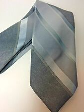 Adolfo Skinny Necktie Tie Gray Diagonal Stripe Mens 60 L