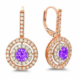 2.4ct Round Cut Halo Natural Amethyst Drop Dangle Earrings Real 14k 2 tone Gold