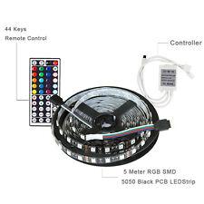 16.4ft 5M 300LED SMD 5050 Black PCB RGB LED Light Strip+44Key IR Remote Control
