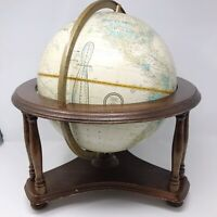"""Vtg Cram's Imperial World Globe 12"""" Relief Powell Wooden Desk Stand 18"""" x 18"""""""