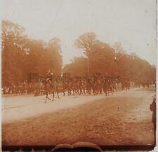Fontainebleau Défilé militaire du 14 Juillet 1909 Stereo Verre R3 Positive