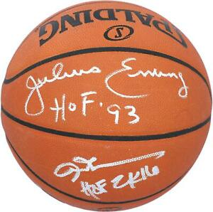 "Julius Erving, Allen Iverson 76ers Signed Spalding Basketball with ""HOF 93"" Insc"