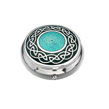 Pillbox Silver Plated Celtic Knot Solid Centre Green Brand New and Boxed