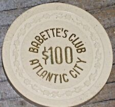 $100 ROARING 20'S GAMING CHIP FROM BABETTE'S CLUB CASINO VINTAGE ATLANTIC CITY