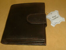 GENUINE BROWN LEATHER WALLET WITH ZIP ROUND COIN HOLDER NEW WITH TAGS