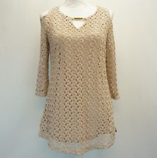 JM Collection Womens Blouse Cold Shoulder Keyhole Neck Crochet Top Taupe S $54