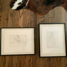 """2 Seated Nudes By Robert Graham 1995 Signed Lithographs 15.5""""x 20.5""""/20.5x16.5"""