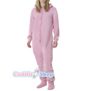 Pink Fleece Adult All In One Footed Pyjamas Ladies/Mens/Unisex Jumpsuit bodysuit