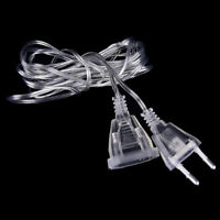 3M EU Plug Extender Transparent Wire for Christmas LED String light Garden Decor
