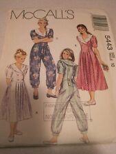UNCUT McCALL'S GIRLS' DRESS & JUMPSUIT Sewing Pattern # 5443 Sz 10 1991