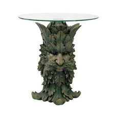 Greenman Legend Side Table With Glass Furniture Home Decorative Forest Green