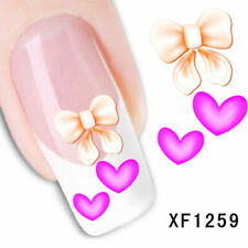 Nail Art Water Transfer Sticker Decal Stickers Pretty Heart Purple Pink Xf1259