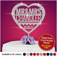 PERSONALISED Heart Wedding Cake Topper Glitter Acrylic Rustic Wood Decoration