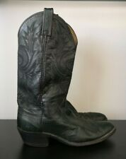 Mens Dan Post Black / Dark Green Leather Western Cowboy Boots - US 9 / UK 8