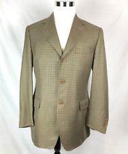 Canali Men's 52 R Brown Blue Woven Wool Silk Blend Houndstooth Sport Coat Jacket