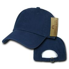 Navy Blue Plain Solid Blank Washed Cotton Polo Style Low Crown Baseball Cap Hat