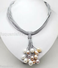 Rare Big Pearl Pendant Necklace Leather Cord Chain Magnet Clasp Fashion