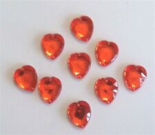 25pc Heart Tangerine Orange 13mm Plastic Rhinestone Gemstones Beads w/ Holes