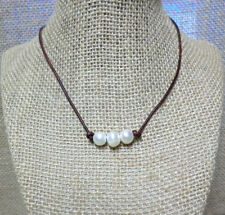 Triple Freshwater Pearl Brown Genuine Leather Cord Choker Necklace Slip Knot