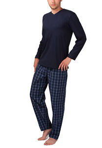 Herren Schlafanzug mit Webhose aus 100% Baumwolle