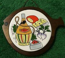Vtg JAPAN MCM mid century NOS modern tray fish shape cheese board wood 60's 9x7