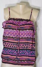 OP Black/Purple/Orange/Teal/Fuchsia Spaghetti Strap Top Large Smocked Elastic
