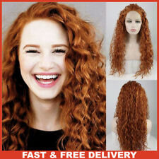 Party Queen Long Curly Brown Lace Front Wigs For Women Glueless Synthetic Wig
