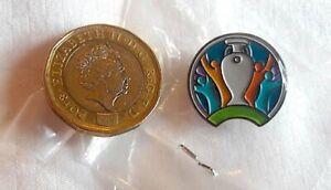 Football EURO 2020 official logo metal / enamel pin lapel badge 2cm sealed RARE