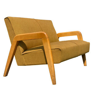 Mid-Century Modern Sculpted Settee Sofa by Russel Wright for Thonet