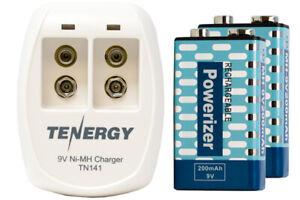 2 Bay 9 Volt Smart Battery Charger + 2-Pack 9 Volt NiMH Batteries (200 mAh)