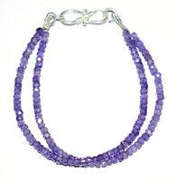 "Blue Zircon Gemstone 925 Sterling Silver 8"" Strand Bracelet 2 Layer TFC789"