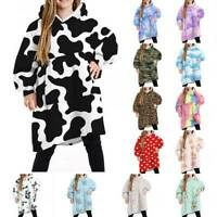 Hoodie Blanket Oversized Ultra Plush Comfy Sherpa Revisible Sweatshirt Blanket f