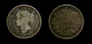 Canada 1887 Silver 5 Five Cents Queen Victoria Toned F-12 Scarce Date