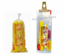 """Pack Of 100 Heap-O-Corn 3 oz Popcorn Bags 18"""" Long With Twist Ties Gold Medal"""