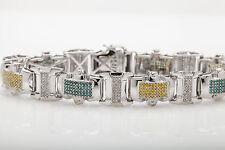 JPM Signed $15,000 7ct Genuine Blue Yellow White Diamond 14k Gold Bracelet 40g