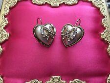 Betsey Johnson White Pearl Heart Crystal Ribbon Bow Dangle Earrings VERY RARE