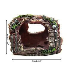 Nice Aquarium Fish Tank Resin Broken Barrel Cave Landscaping Decorations UK