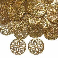 MXL5114p Antiqued Gold 24mm Flower Round Link Metal Jewelry Component 50/pkg