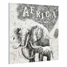 [art.work] Cuadro pared 100x100cm elefante lienzo pintado a mano enmarcado