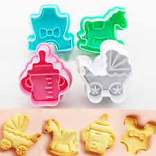 4PCS Baby Shower Theme Biscuit Cookie Cutters Fondant Cake Decor Mold Mould Tool