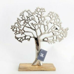 Tree of Life On Wooden Base Ornament  Antique Display Home Decor - Medium