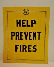 VTG Old 1963 Forest Service Sign HELP PREVENT FIRES