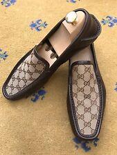 Gucci Mens Shoes Brown Monogrammed Canvas Loafer Deck Boating UK 8.5 US 9.5 42.5