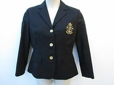Ralph Lauren Womens L Large Black w/ Nautical Crest Lined Blazer Jacket