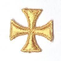 """Vintage Maltese Cross Embroidery 1"""" Sew-on Gold T Emblem Patch 12 Pieces"""