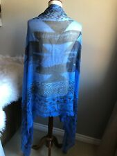 Blue Black Geo Print Large Shawl Scarf Bathing Suit Coverup