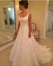 A Line Square Neck Lace Beaded Sequins Wedding Dresses Bridal Gowns 2 4 6 8 10++