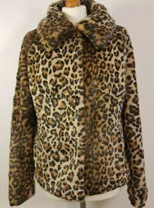 M&S Leopard Print Ladies Fur Coat Size UK 12