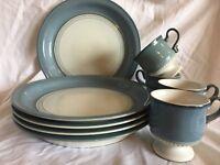 "DENBY CASTILE 10-3/4"" DINNER PLATES (SET OF 5) & 4 FOOTED CUPS"